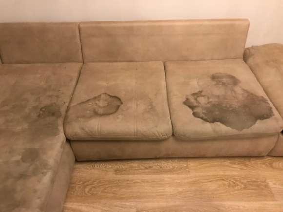 Химчистка коричного дивана от пятен