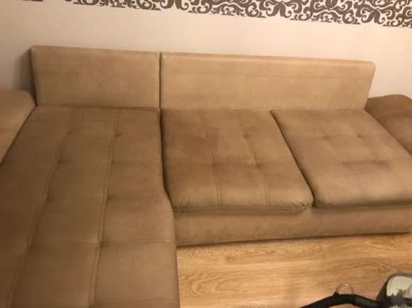Химчистка коричного дивана от пятен -результат